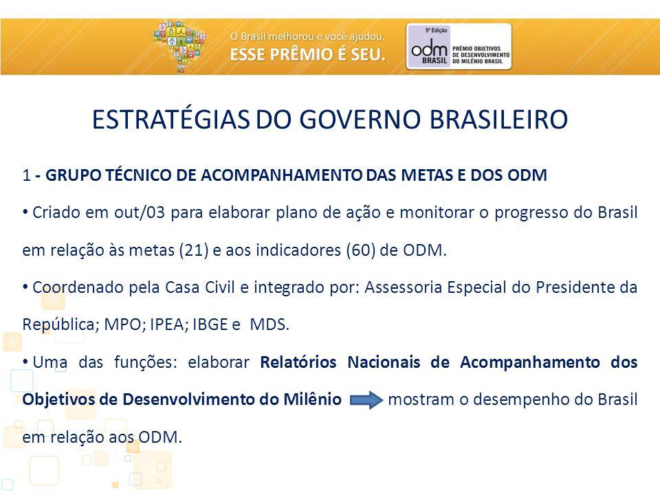 ESTRATÉGIAS DO GOVERNO BRASILEIRO 1 - GRUPO TÉCNICO DE ACOMPANHAMENTO DAS METAS E DOS ODM Criado em out/03 para elaborar plano de ação e monitorar o progresso do Brasil em relação às metas (21) e aos indicadores (60) de ODM.