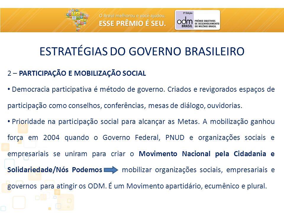 ESTRATÉGIAS DO GOVERNO BRASILEIRO 2 – PARTICIPAÇÃO E MOBILIZAÇÃO SOCIAL Democracia participativa é método de governo. Criados e revigorados espaços de