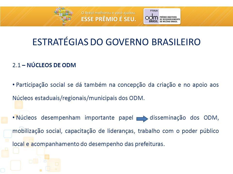 ESTRATÉGIAS DO GOVERNO BRASILEIRO 2.1 – NÚCLEOS DE ODM Participação social se dá também na concepção da criação e no apoio aos Núcleos estaduais/regionais/municipais dos ODM.