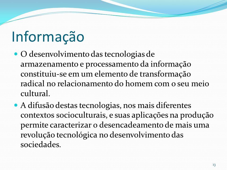 Informação O desenvolvimento das tecnologias de armazenamento e processamento da informação constituiu-se em um elemento de transformação radical no r