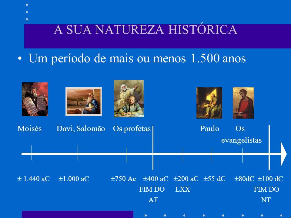 A SUA NATUREZA HISTÓRICA Um período de mais ou menos 1.500 anos Moisés Davi, Salomão Os profetas Paulo Os evangelistas ± 1.440 aC ±1.000 aC ±750 Ac ±4