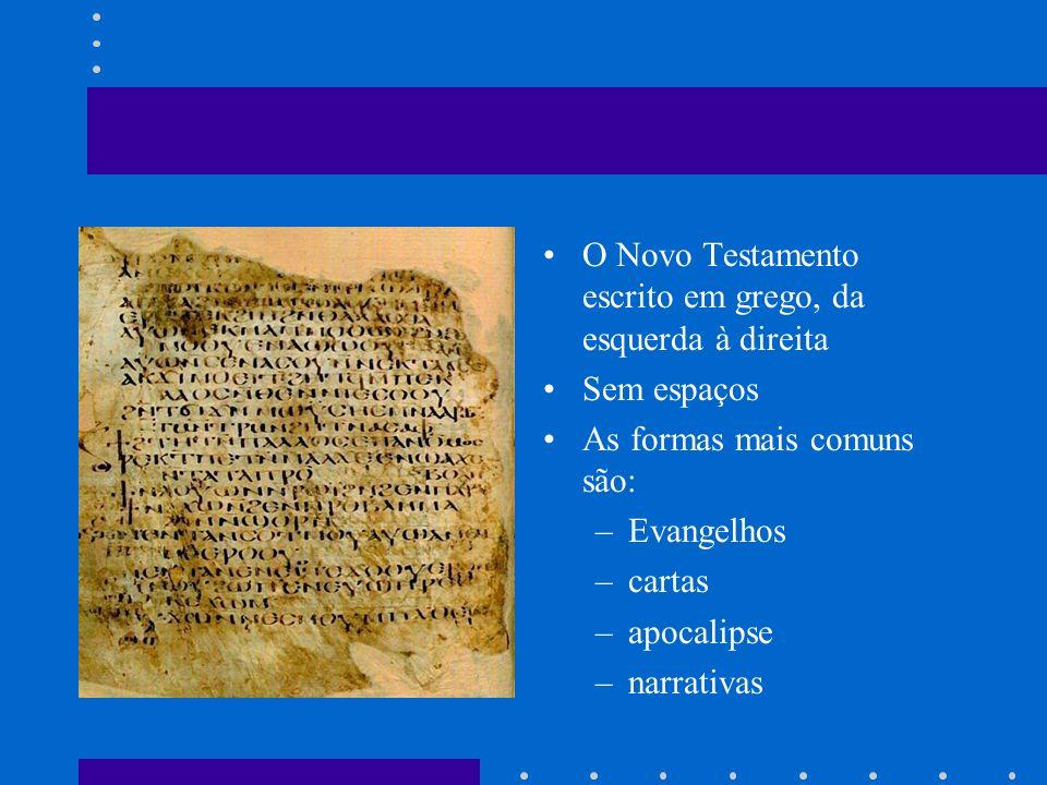 O Novo Testamento escrito em grego, da esquerda à direita Sem espaços As formas mais comuns são: –Evangelhos –cartas –apocalipse –narrativas