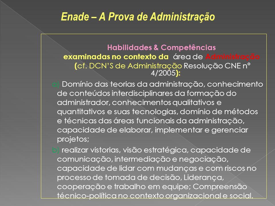 Habilidades & Competências examinadas no contexto da área de Administração ( cf.