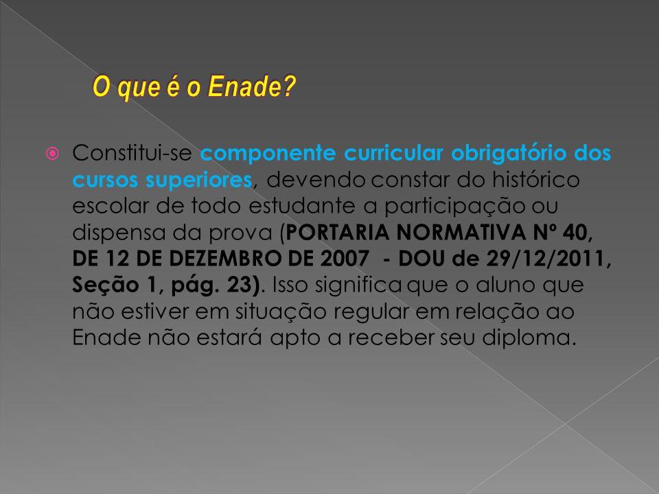 O ENADE será realizado todos os anos, normalmente no domingo do mês de novembro, aplicando-se trienalmente a cada curso.