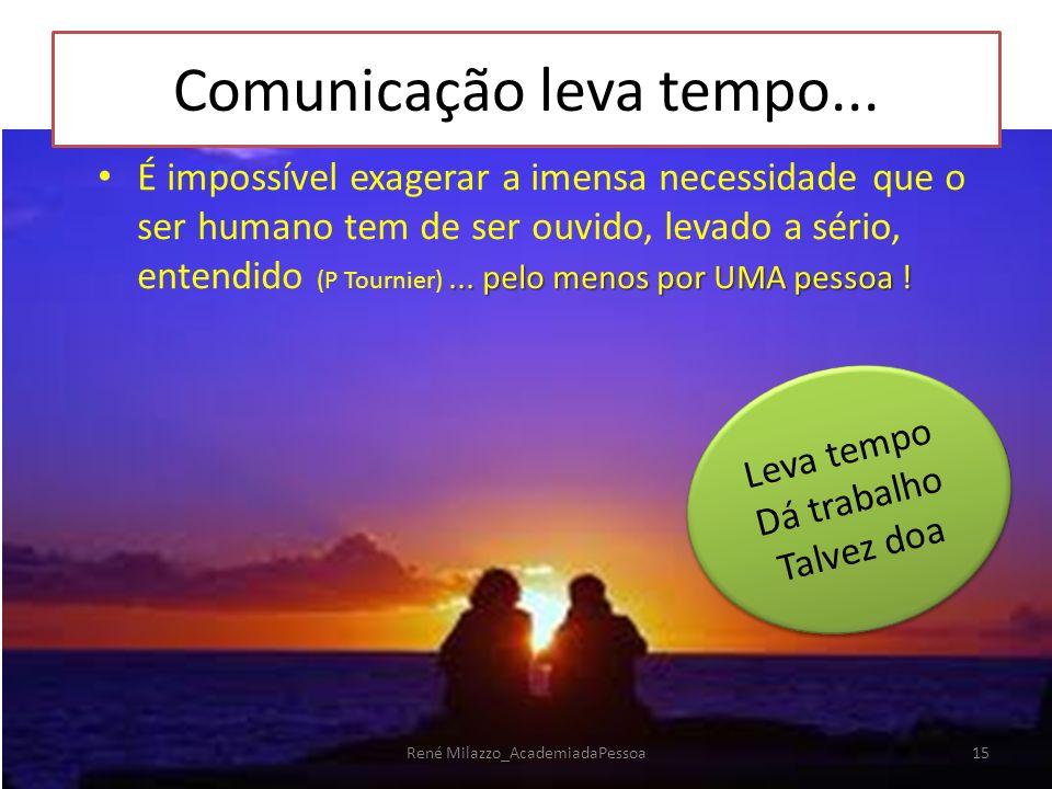 Comunicação leva tempo...... pelo menos por UMA pessoa ! É impossível exagerar a imensa necessidade que o ser humano tem de ser ouvido, levado a sério