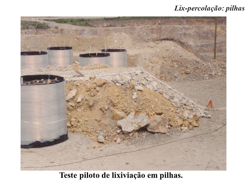 Teste piloto de lixiviação em pilhas. Lix-percolação: pilhas