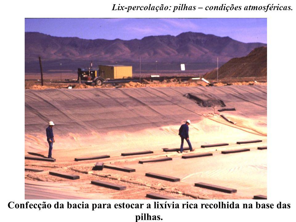 Confecção da bacia para estocar a lixívia rica recolhida na base das pilhas. Lix-percolação: pilhas – condições atmosféricas.