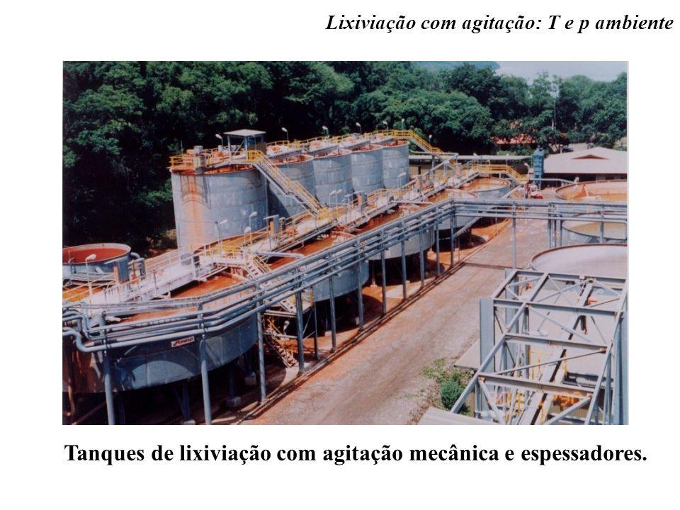 Tanques de lixiviação com agitação mecânica e espessadores. Lixiviação com agitação: T e p ambiente