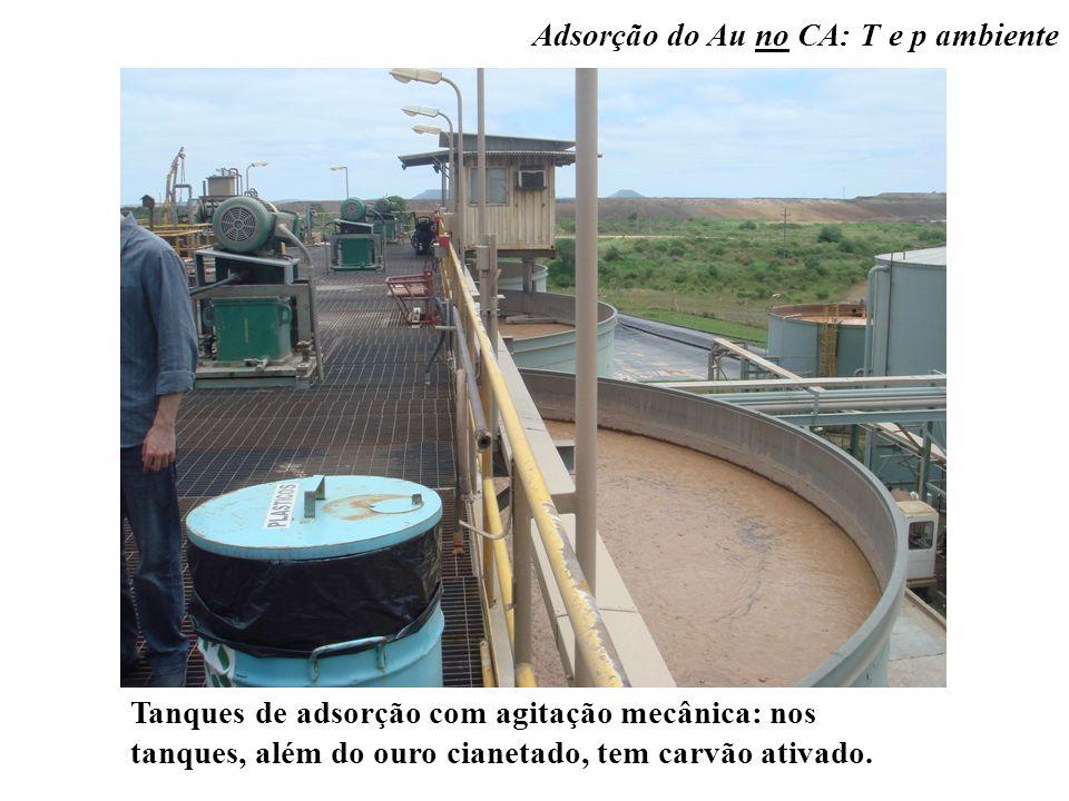 Tanques de adsorção com agitação mecânica: nos tanques, além do ouro cianetado, tem carvão ativado.