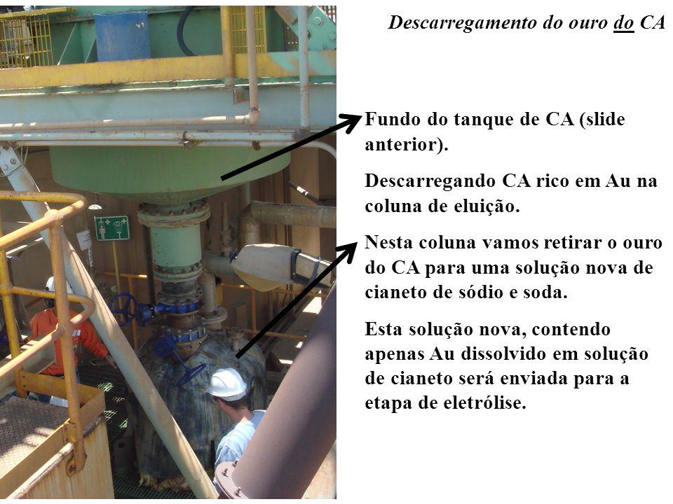 Descarregamento do ouro do CA Fundo do tanque de CA (slide anterior). Descarregando CA rico em Au na coluna de eluição. Nesta coluna vamos retirar o o