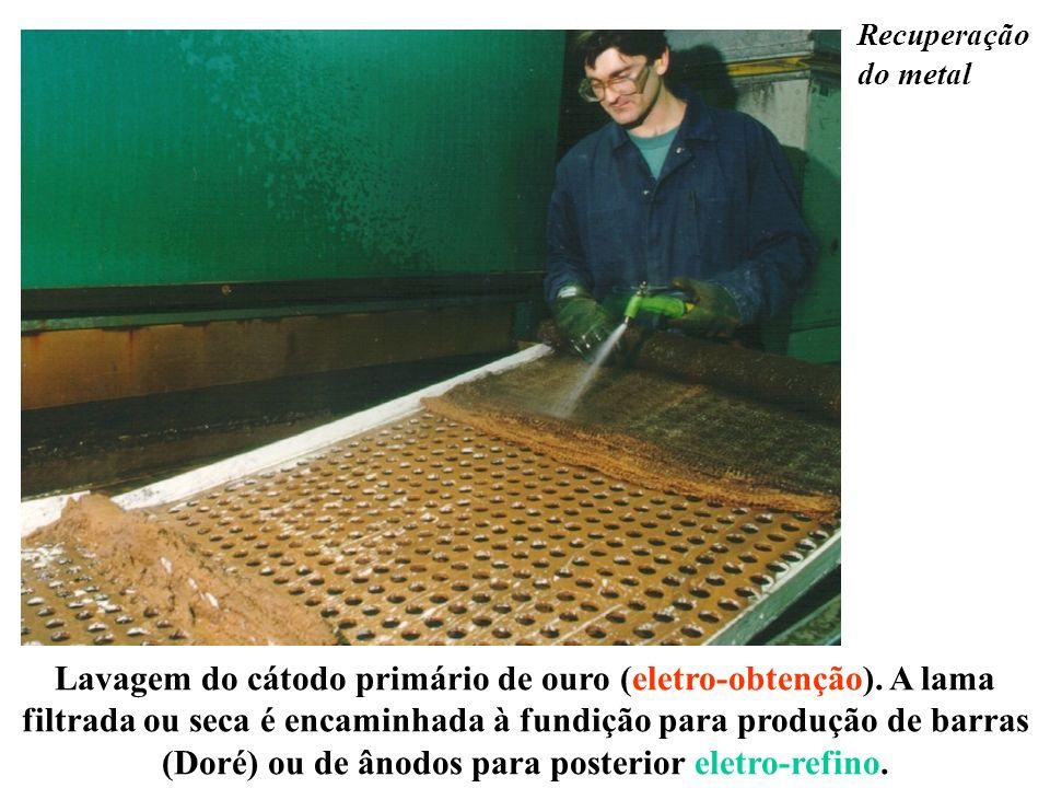 Lavagem do cátodo primário de ouro (eletro-obtenção). A lama filtrada ou seca é encaminhada à fundição para produção de barras (Doré) ou de ânodos par