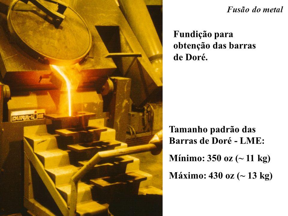 Fundição para obtenção das barras de Doré. Fusão do metal Tamanho padrão das Barras de Doré - LME: Mínimo: 350 oz (~ 11 kg) Máximo: 430 oz (~ 13 kg)