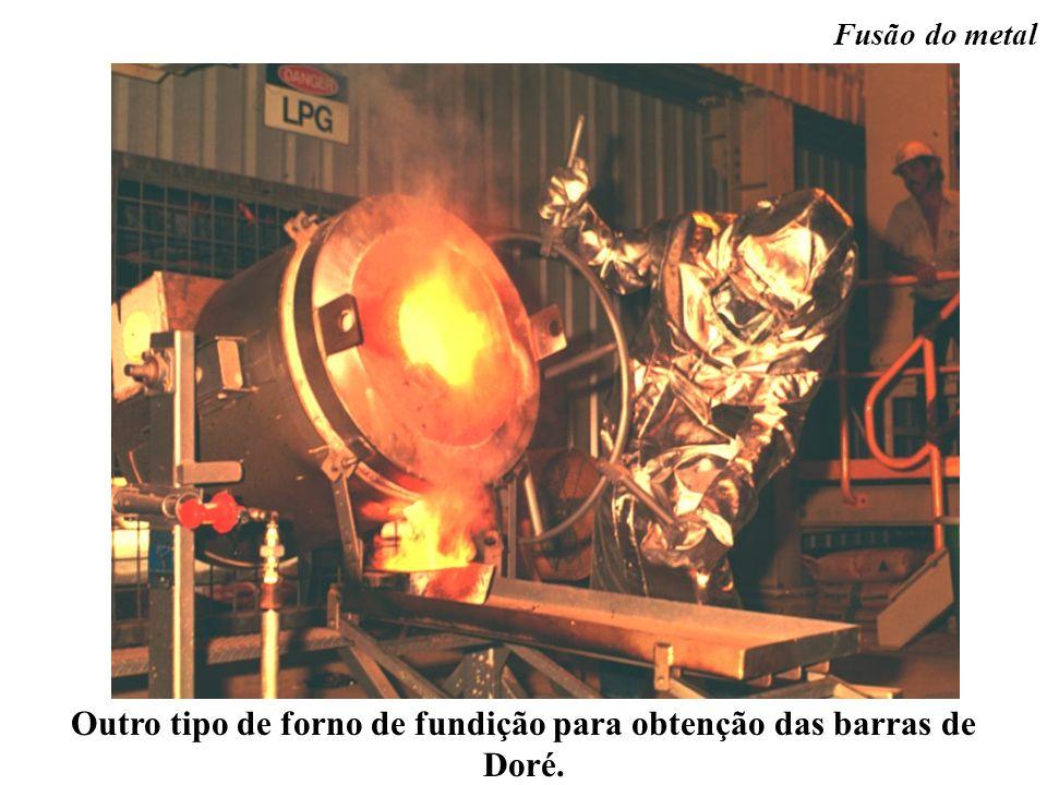 Outro tipo de forno de fundição para obtenção das barras de Doré. Fusão do metal