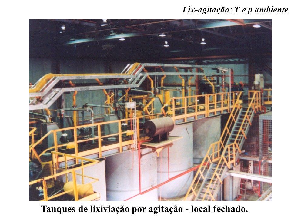 Tanques de lixiviação por agitação - local fechado. Lix-agitação: T e p ambiente