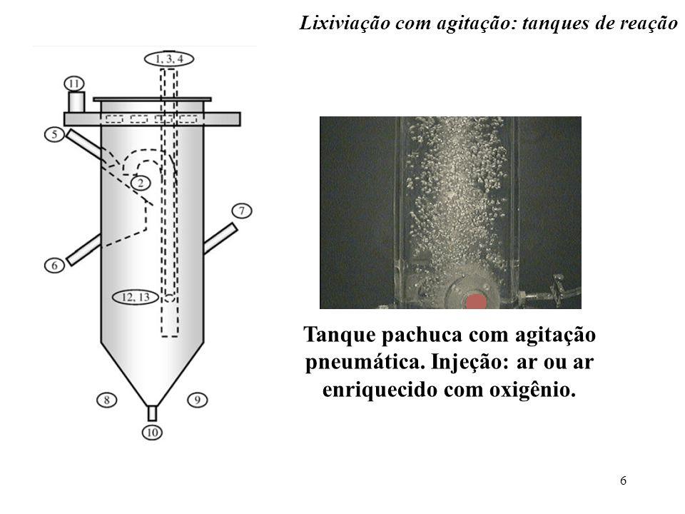 6 Tanque pachuca com agitação pneumática. Injeção: ar ou ar enriquecido com oxigênio. Lixiviação com agitação: tanques de reação