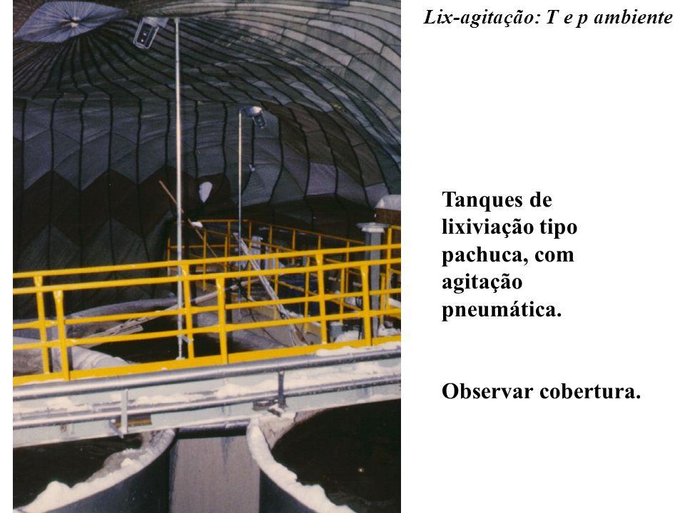 Lix-agitação: T e p ambiente Tanques de lixiviação tipo pachuca, com agitação pneumática. Observar cobertura.