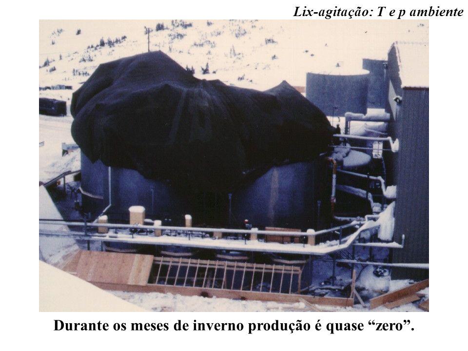 Lix-agitação: T e p ambiente Durante os meses de inverno produção é quase zero.