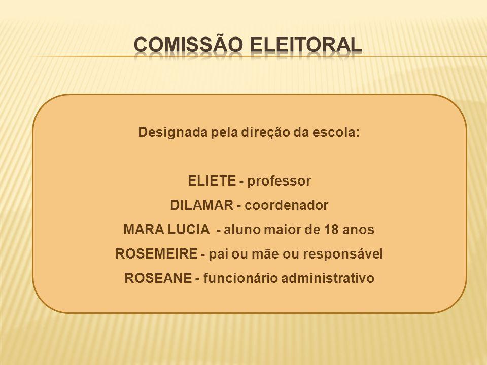 Designada pela direção da escola: ELIETE - professor DILAMAR - coordenador MARA LUCIA - aluno maior de 18 anos ROSEMEIRE - pai ou mãe ou responsável R