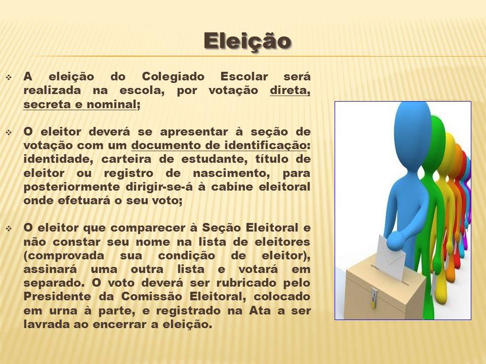 EleiçãoEleição A eleição do Colegiado Escolar será realizada na escola, por votação direta, secreta e nominal; O eleitor deverá se apresentar à seção