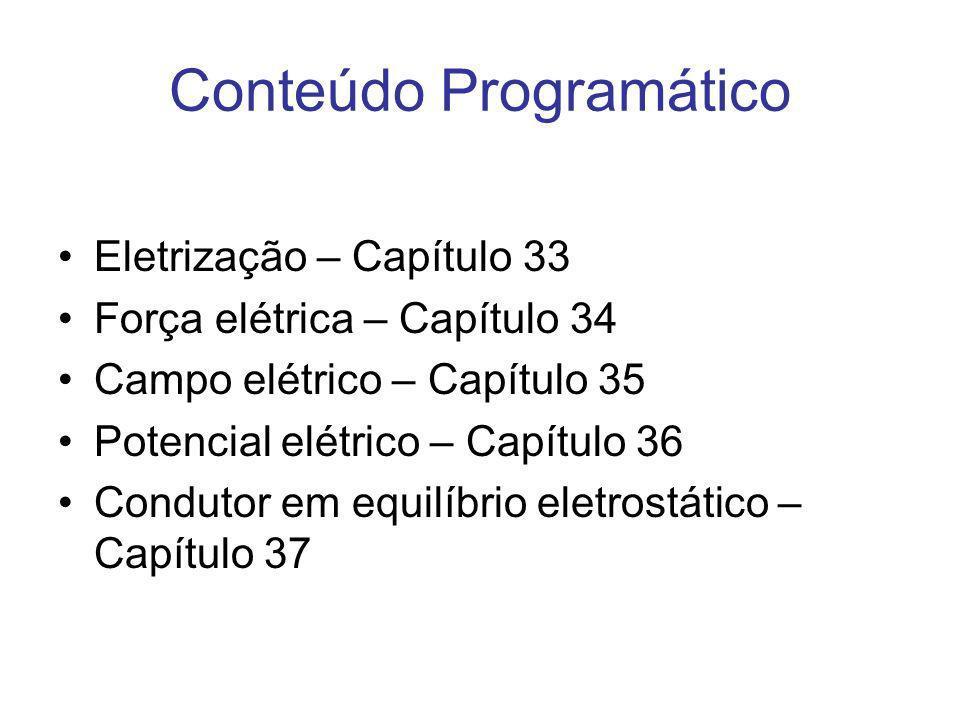 Conteúdo Programático Eletrização – Capítulo 33 Força elétrica – Capítulo 34 Campo elétrico – Capítulo 35 Potencial elétrico – Capítulo 36 Condutor em