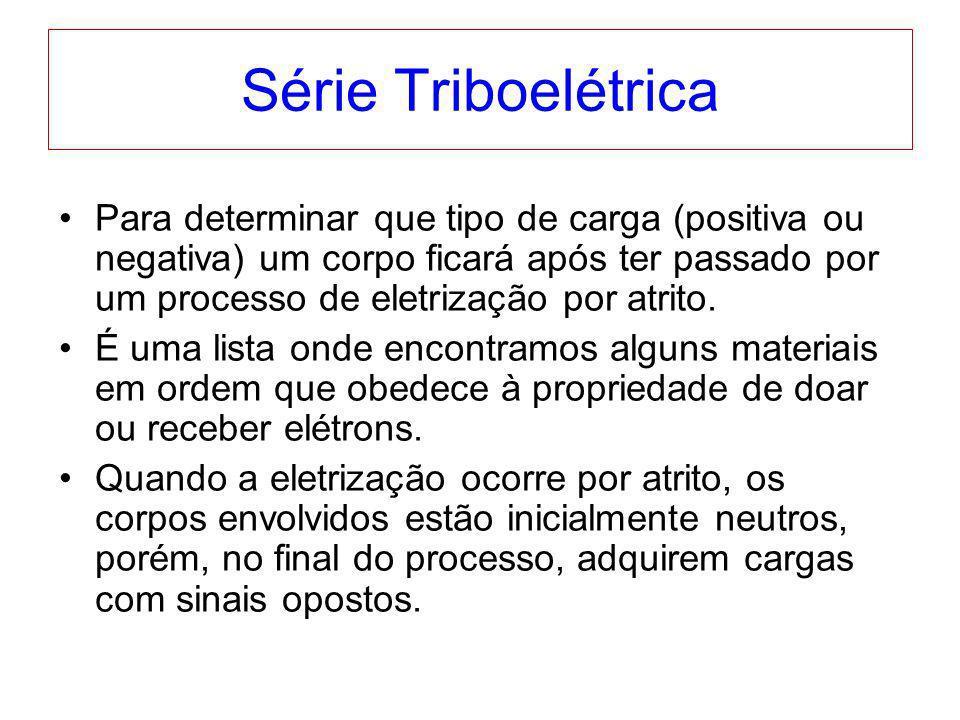 Série Triboelétrica Para determinar que tipo de carga (positiva ou negativa) um corpo ficará após ter passado por um processo de eletrização por atrit