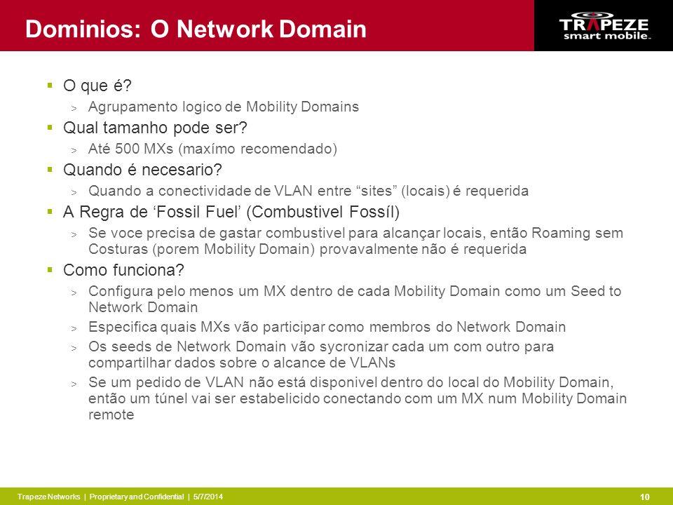 Trapeze Networks | Proprietary and Confidential | 5/7/2014 10 Dominios: O Network Domain O que é.