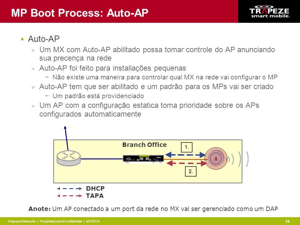 Trapeze Networks | Proprietary and Confidential | 5/7/2014 18 Branch Office DHCP TAPA MP Boot Process: Auto-AP Auto-AP > Um MX com Auto-AP abilitado possa tomar controle do AP anunciando sua precença na rede > Auto-AP foi feito para installações pequenas Não existe uma maneira para controlar qual MX na rede vai configurar o MP > Auto-AP tem que ser abilitado e um padrão para os MPs vai ser criado Um padrão está providenciado > Um AP com a configuração estatica toma prioridade sobre os APs configurados automaticamente 1.