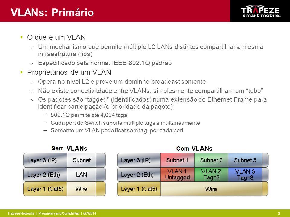 Trapeze Networks | Proprietary and Confidential | 5/7/2014 3 VLANs: Primário O que é um VLAN > Um mechanismo que permite múltiplo L2 LANs distintos compartilhar a mesma infraestrutura (fios) > Especificado pela norma: IEEE 802.1Q padrão Proprietarios de um VLAN > Opera no nivel L2 e prove um dominho broadcast somente > Não existe conectivitdade entre VLANs, simplesmente compartilham um tubo > Os paqotes são tagged (identificados) numa extensão do Ethernet Frame para identificar participação (e prioridade da paqote) 802.1Q permite até 4,094 tags Cada port do Switch suporte múltiplo tags simultaneamente Somente um VLAN pode ficar sem tag, por cada port