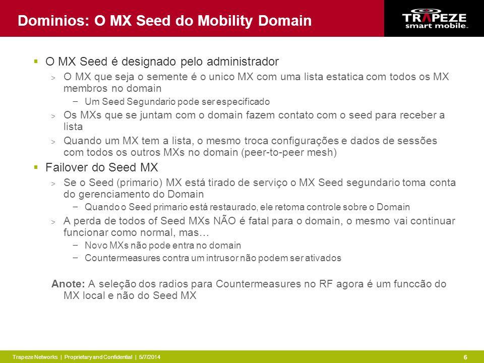 Trapeze Networks | Proprietary and Confidential | 5/7/2014 6 Dominios: O MX Seed do Mobility Domain O MX Seed é designado pelo administrador > O MX que seja o semente é o unico MX com uma lista estatica com todos os MX membros no domain Um Seed Segundario pode ser especificado > Os MXs que se juntam com o domain fazem contato com o seed para receber a lista > Quando um MX tem a lista, o mesmo troca configurações e dados de sessões com todos os outros MXs no domain (peer-to-peer mesh) Failover do Seed MX > Se o Seed (primario) MX está tirado de serviço o MX Seed segundario toma conta do gerenciamento do Domain Quando o Seed primario está restaurado, ele retoma controle sobre o Domain > A perda de todos of Seed MXs NÃO é fatal para o domain, o mesmo vai continuar funcionar como normal, mas… Novo MXs não pode entra no domain Countermeasures contra um intrusor não podem ser ativados Anote: A seleção dos radios para Countermeasures no RF agora é um funccão do MX local e não do Seed MX
