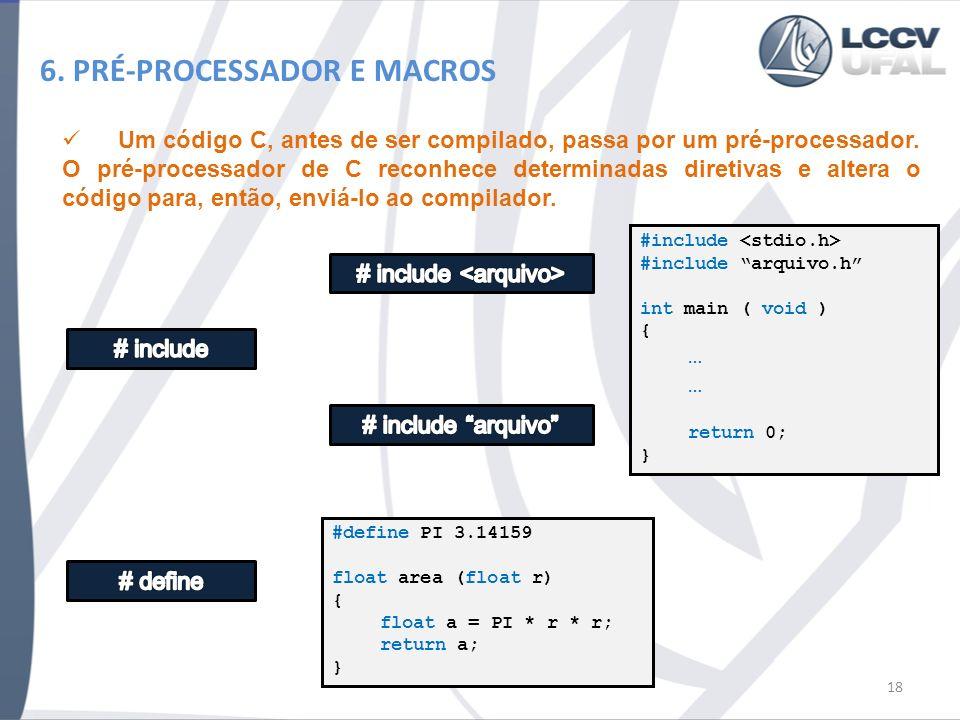 6. PRÉ-PROCESSADOR E MACROS Um código C, antes de ser compilado, passa por um pré-processador. O pré-processador de C reconhece determinadas diretivas