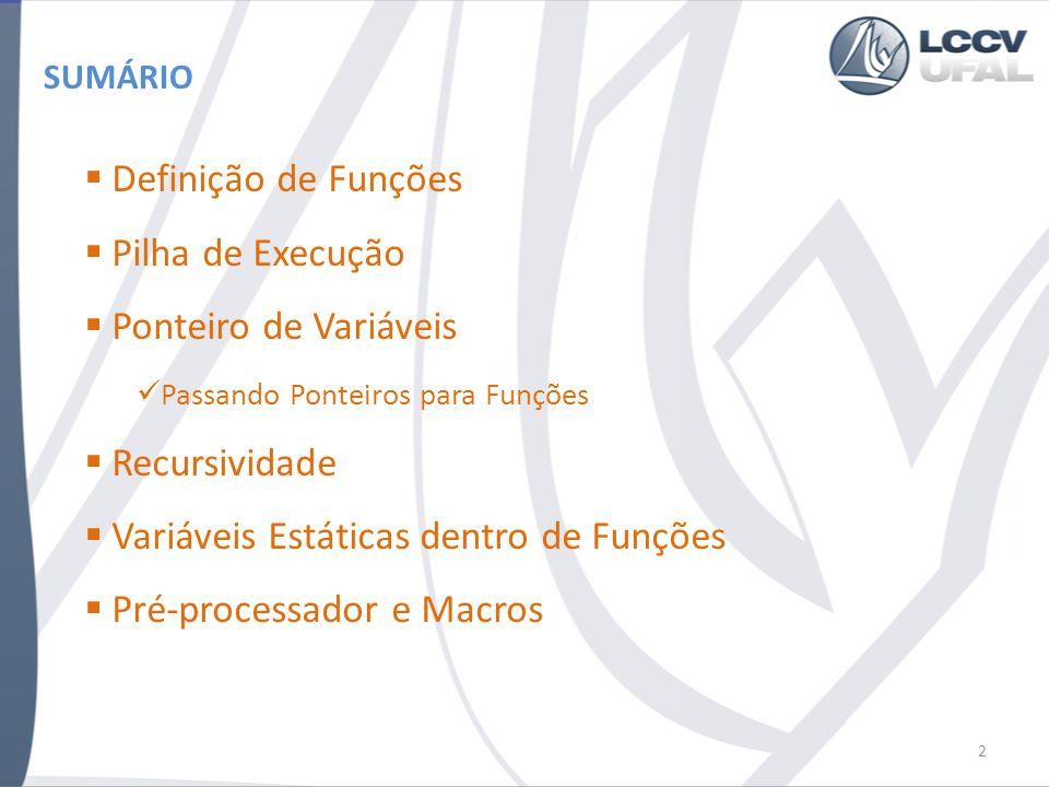 SUMÁRIO Definição de Funções Pilha de Execução Ponteiro de Variáveis Passando Ponteiros para Funções Recursividade Variáveis Estáticas dentro de Funções Pré-processador e Macros 2