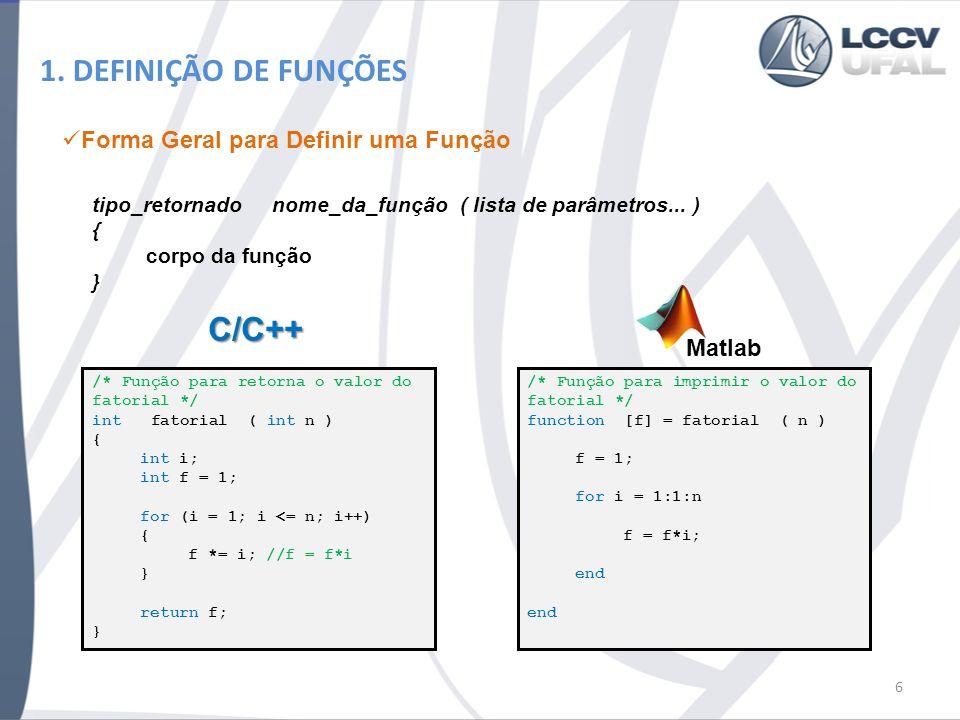 1. DEFINIÇÃO DE FUNÇÕES Forma Geral para Definir uma Função tipo_retornado nome_da_função ( lista de parâmetros... ) { corpo da função } /* Função par