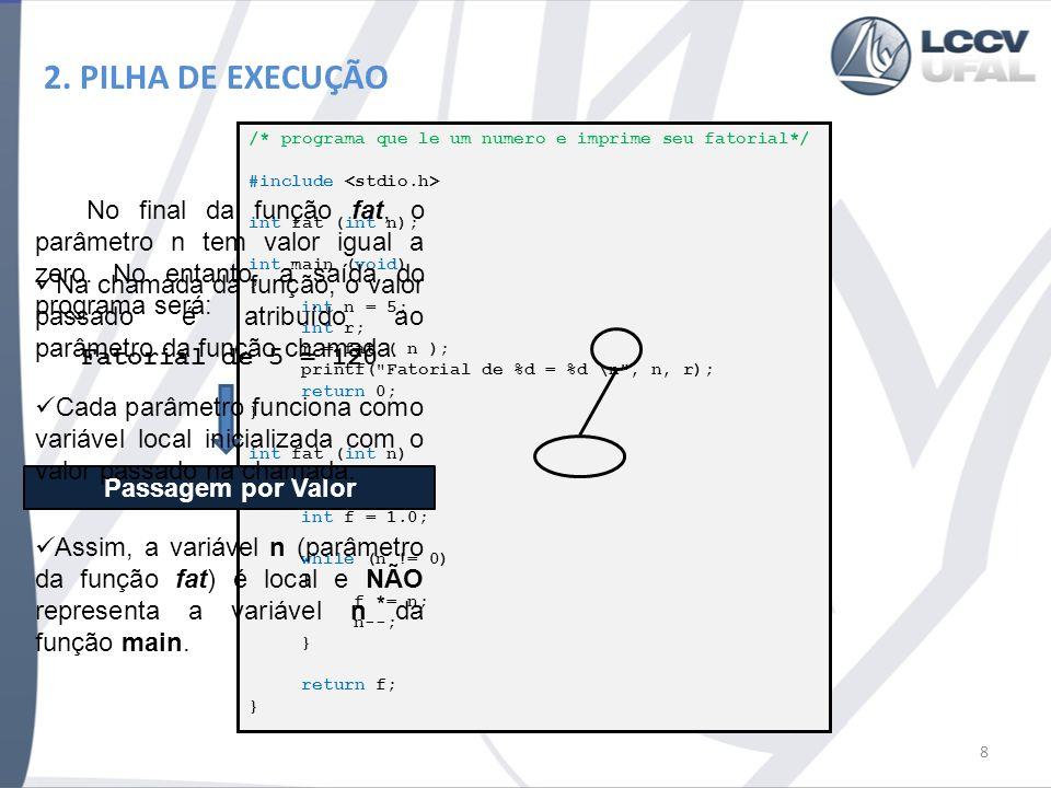 2. PILHA DE EXECUÇÃO 8 /* programa que le um numero e imprime seu fatorial*/ #include int fat (int n); int main (void) { int n = 5; int r; r = fat ( n