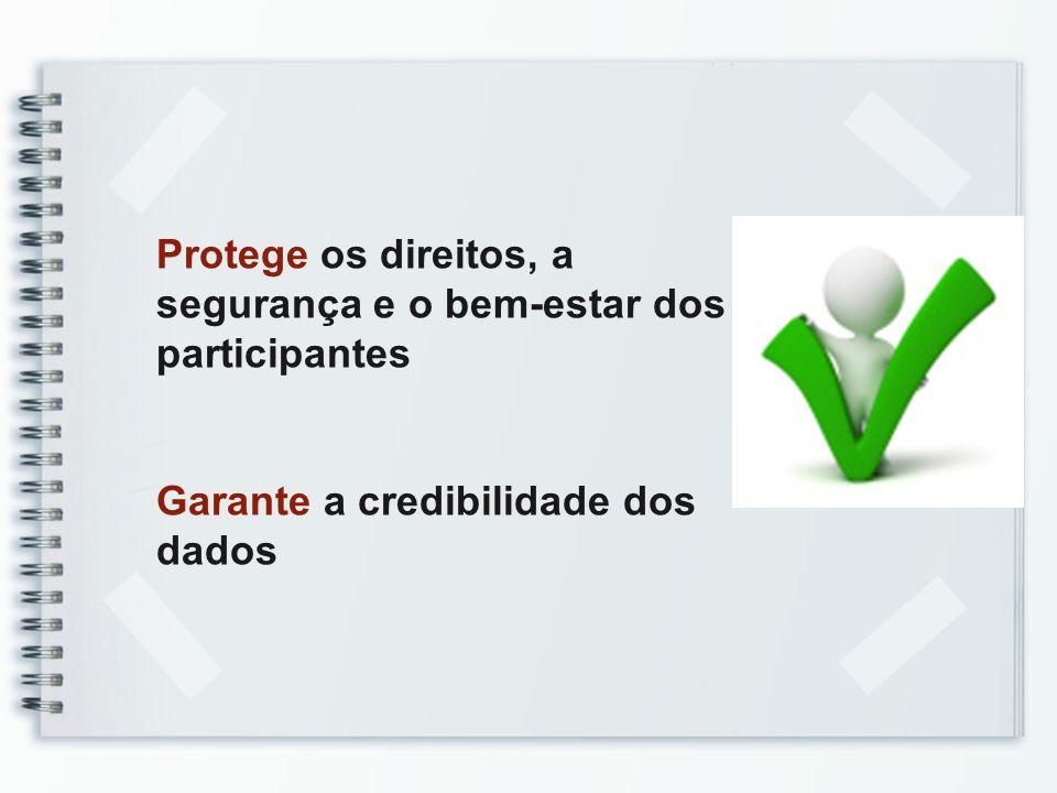 Protege os direitos, a segurança e o bem-estar dos participantes Garante a credibilidade dos dados