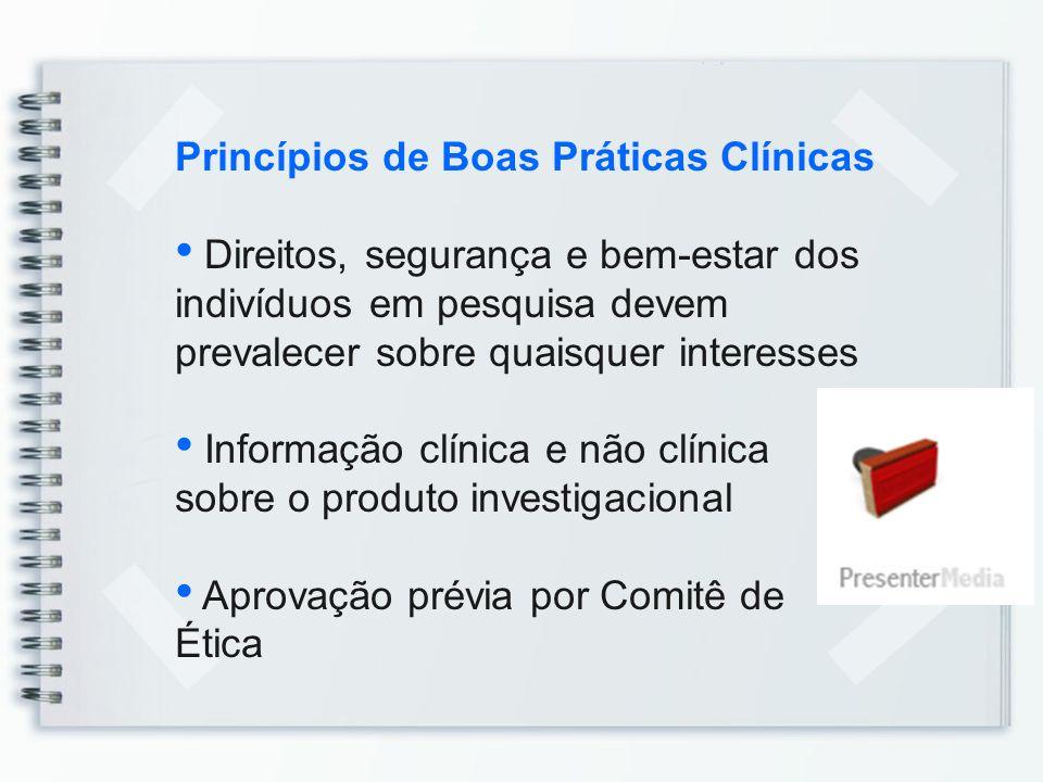Princípios de Boas Práticas Clínicas Obter Consentimento Informado Desenvolver conforme protocolo aprovado Médico qualificado como responsável pelos cuidados e decisões médicas