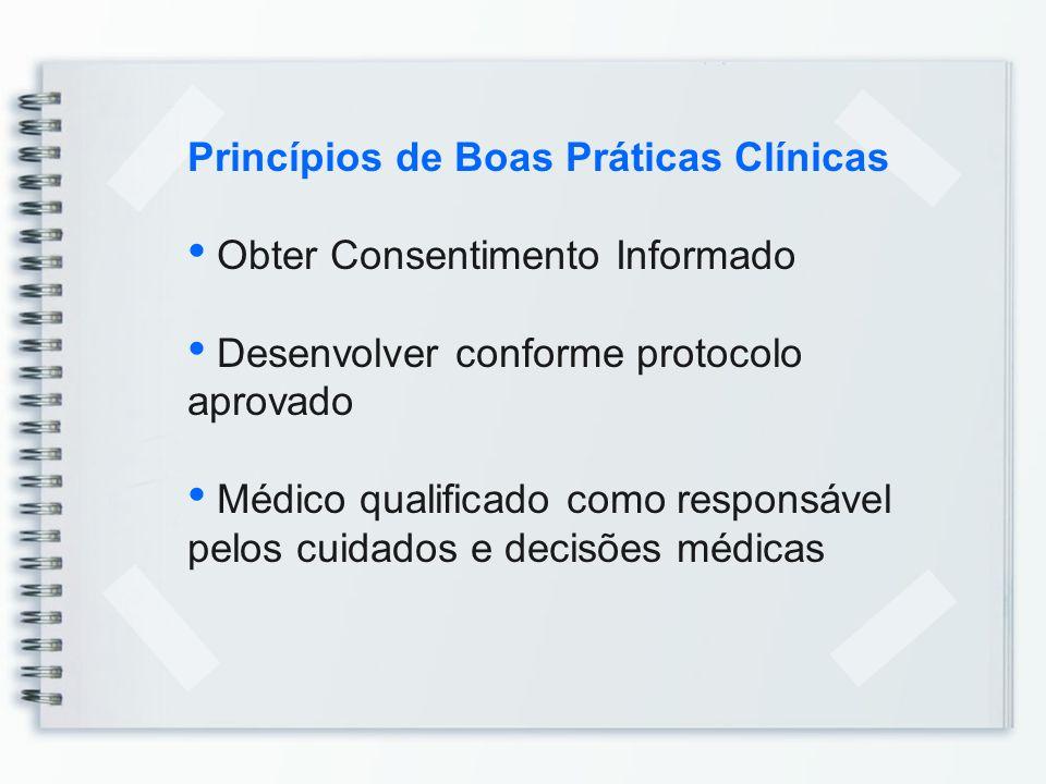 Princípios de Boas Práticas Clínicas Obter Consentimento Informado Desenvolver conforme protocolo aprovado Médico qualificado como responsável pelos c