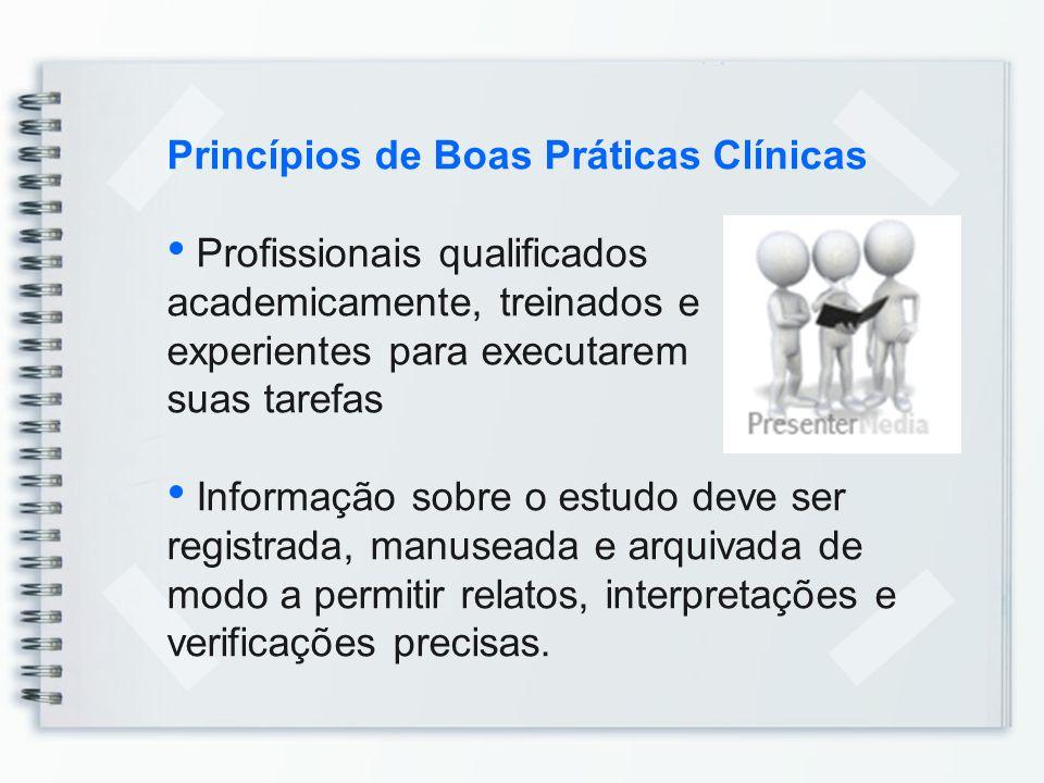 Princípios de Boas Práticas Clínicas Profissionais qualificados academicamente, treinados e experientes para executarem suas tarefas Informação sobre