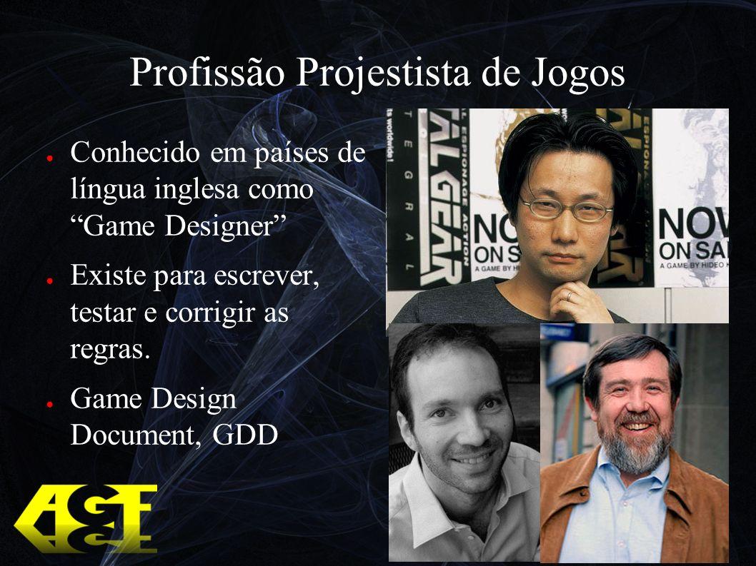 Profissão Projestista de Jogos Conhecido em países de língua inglesa como Game Designer Existe para escrever, testar e corrigir as regras.