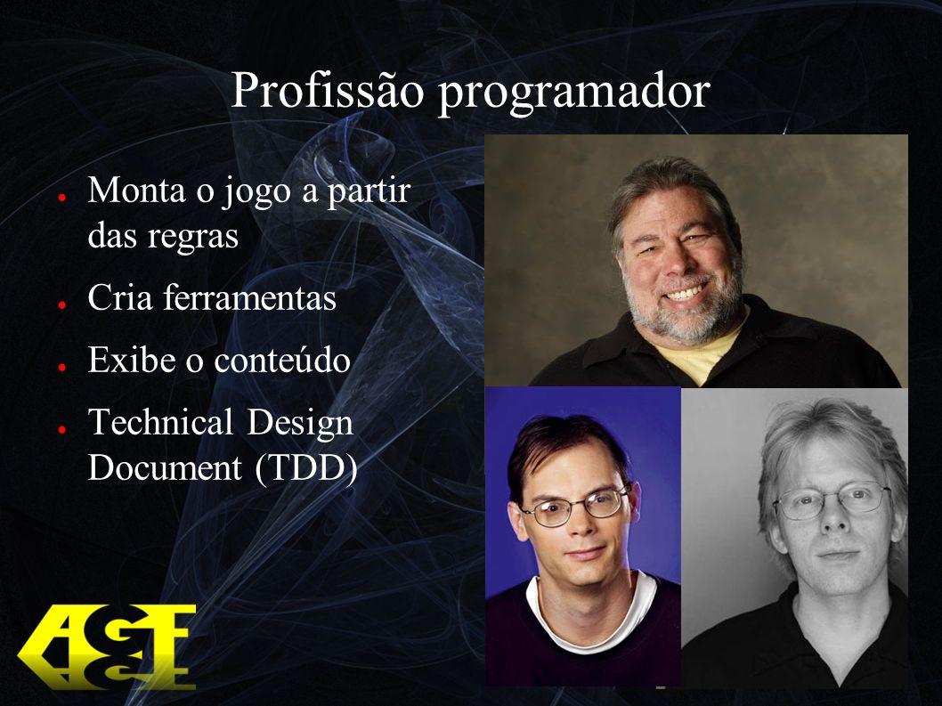 Profissão programador Monta o jogo a partir das regras Cria ferramentas Exibe o conteúdo Technical Design Document (TDD)