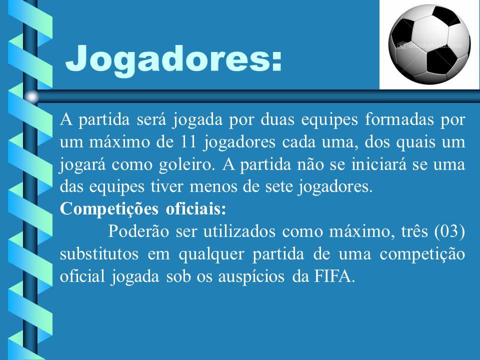Jogadores: A partida será jogada por duas equipes formadas por um máximo de 11 jogadores cada uma, dos quais um jogará como goleiro. A partida não se
