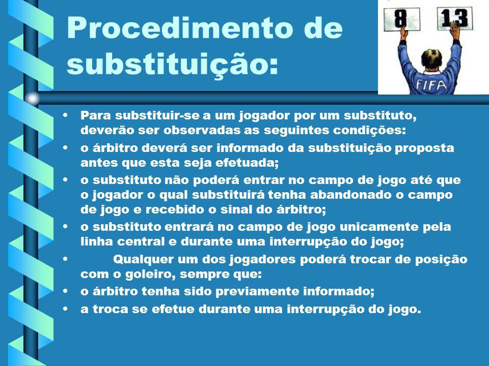 Procedimento de substituição: Para substituir-se a um jogador por um substituto, deverão ser observadas as seguintes condições: o árbitro deverá ser i