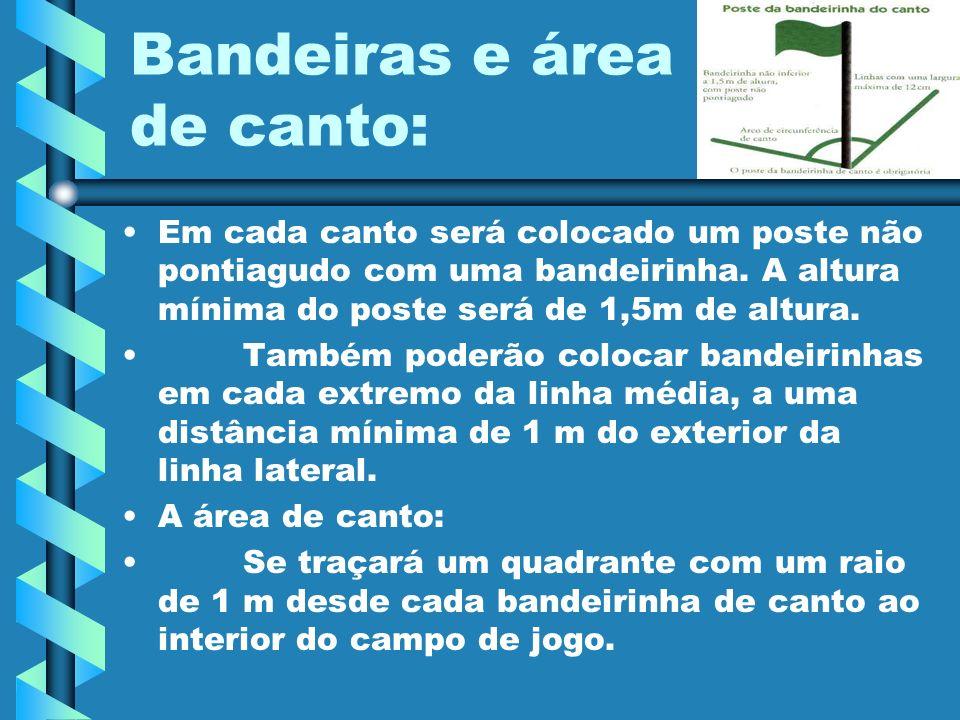 Bandeiras e área de canto: Em cada canto será colocado um poste não pontiagudo com uma bandeirinha. A altura mínima do poste será de 1,5m de altura. T