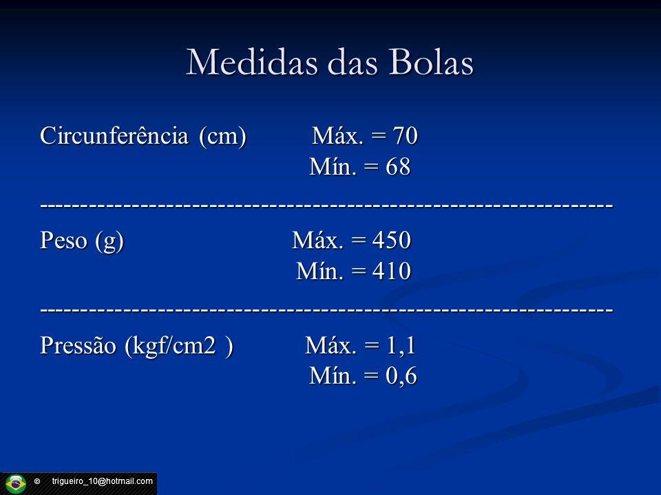 Medidas das Bolas Circunferência (cm) Máx. = 70 Mín. = 68 ------------------------------------------------------------------- Peso (g) Máx. = 450 Mín.
