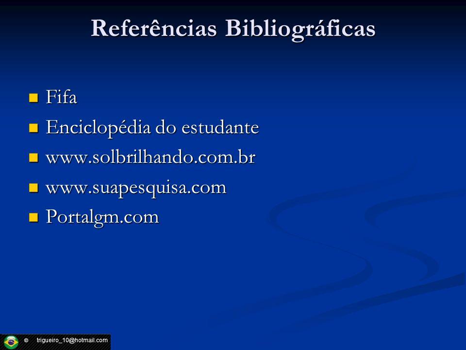 Referências Bibliográficas Fifa Fifa Enciclopédia do estudante Enciclopédia do estudante www.solbrilhando.com.br www.solbrilhando.com.br www.suapesqui