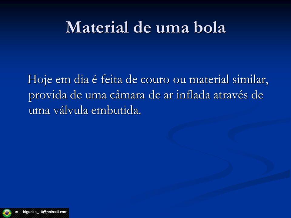 Material de uma bola Hoje em dia é feita de couro ou material similar, provida de uma câmara de ar inflada através de uma válvula embutida. Hoje em di