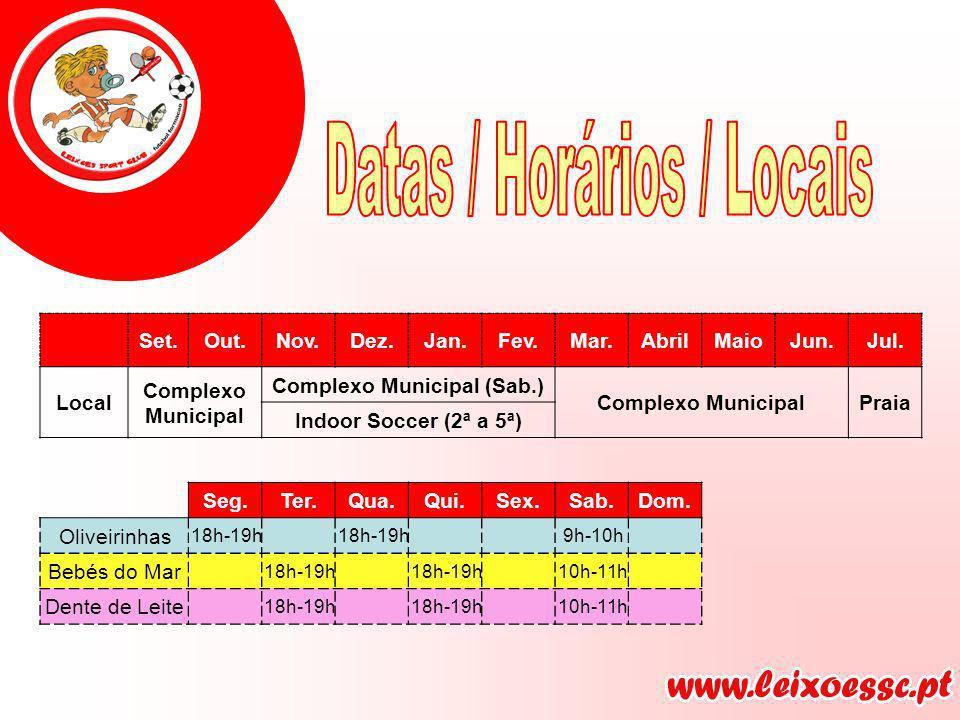Set.Out.Nov.Dez.Jan.Fev.Mar.AbrilMaioJun.Jul. Local Complexo Municipal Complexo Municipal (Sab.) Complexo MunicipalPraia Indoor Soccer (2ª a 5ª) Seg.T