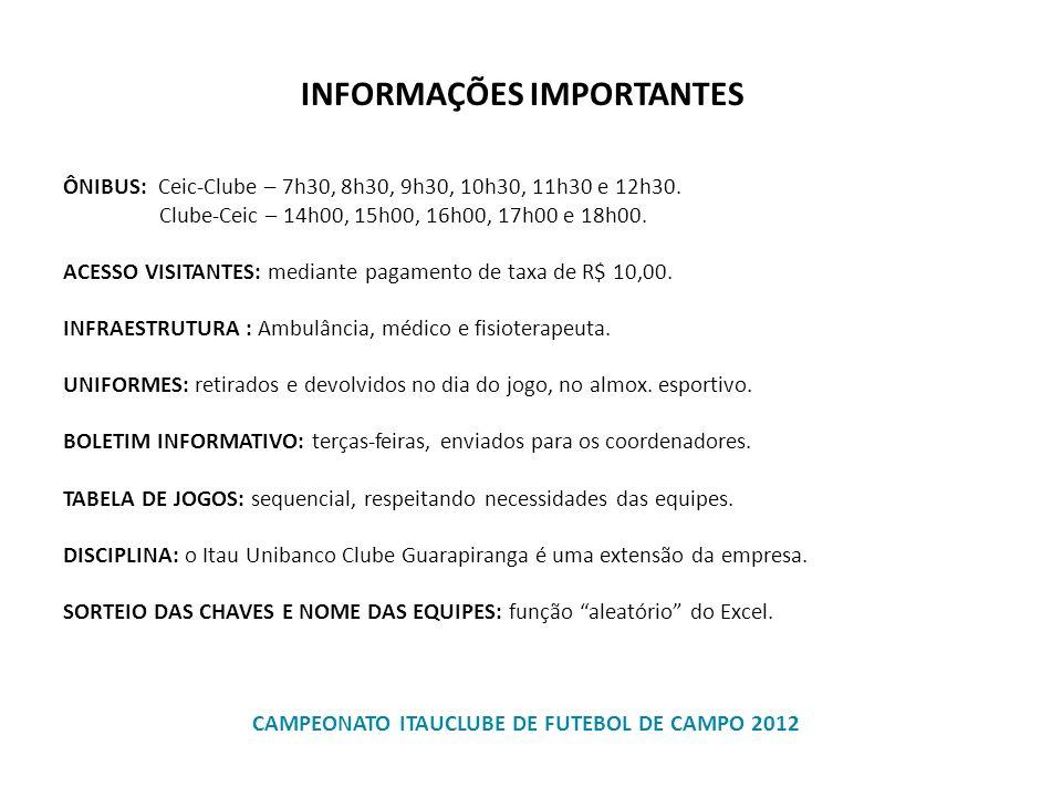 ÔNIBUS: Ceic-Clube – 7h30, 8h30, 9h30, 10h30, 11h30 e 12h30. Clube-Ceic – 14h00, 15h00, 16h00, 17h00 e 18h00. ACESSO VISITANTES: mediante pagamento de