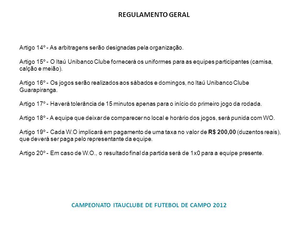Artigo 14º - As arbitragens serão designadas pela organização. Artigo 15º - O Itaú Unibanco Clube fornecerá os uniformes para as equipes participantes