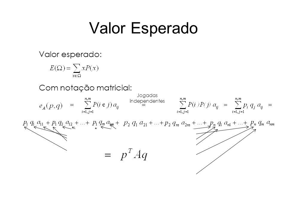 Valor Esperado Valor esperado: Com notação matricial: Jogadas independentes...