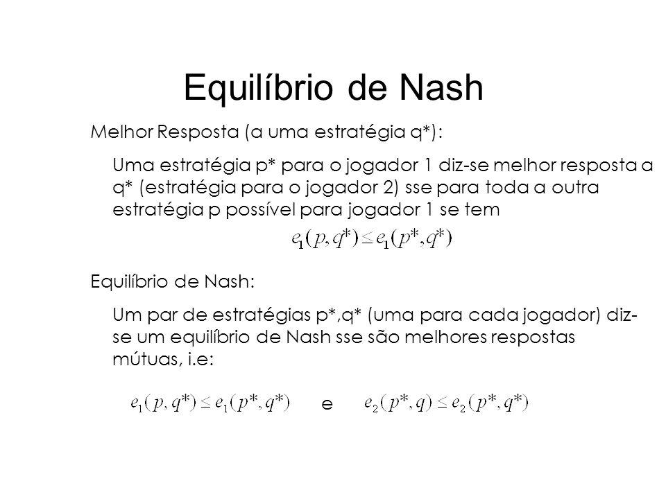 Equilíbrio de Nash Melhor Resposta (a uma estratégia q*): Uma estratégia p* para o jogador 1 diz-se melhor resposta a q* (estratégia para o jogador 2)